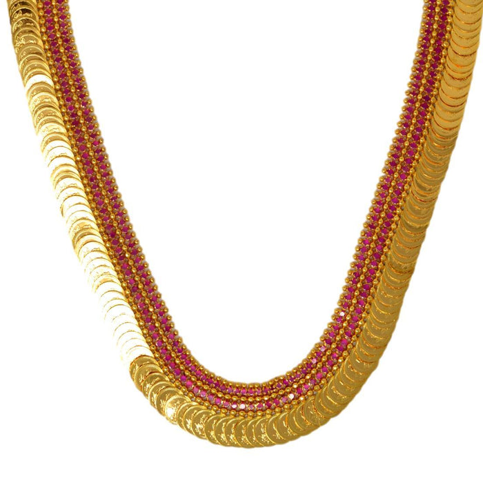 Red Stone & Laxmi Coin Necklace Set Close Up