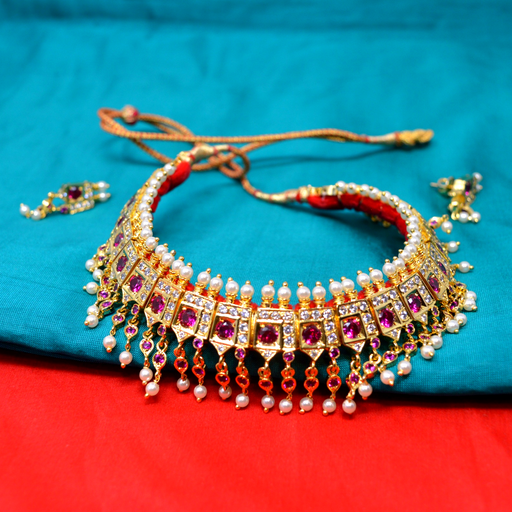 Red Stone & Moti Chinchpeti Necklace set Color