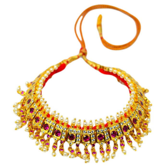 Red Stone & Moti Chinchpeti Necklace set Top View