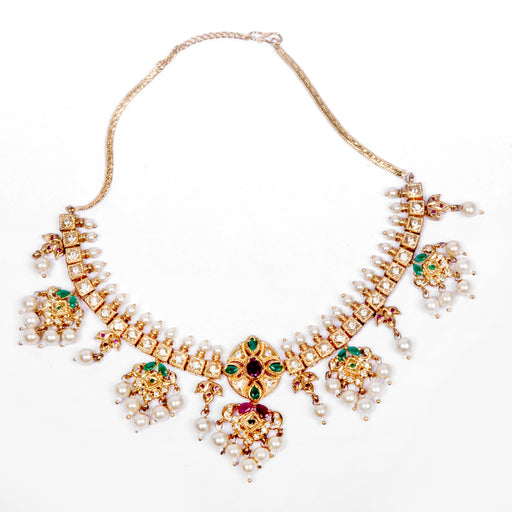 Jaipuri Red, Green Stone & Moti Necklace Front View