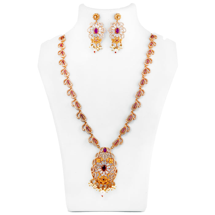 Red, White Stone Temple Necklace Set On Mannequin