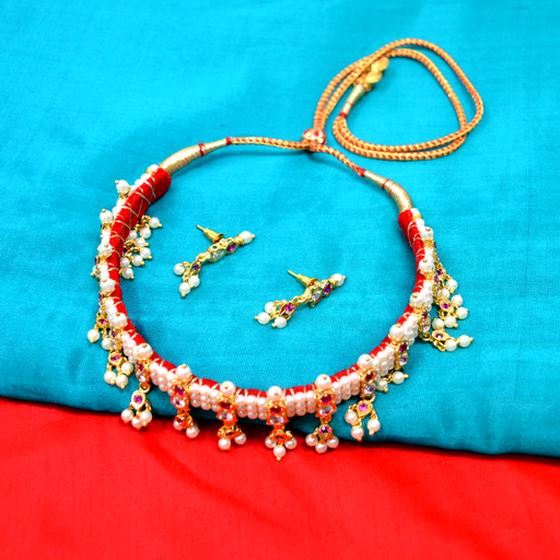 Red Stone Moti Chinchpeti Necklace Set Color