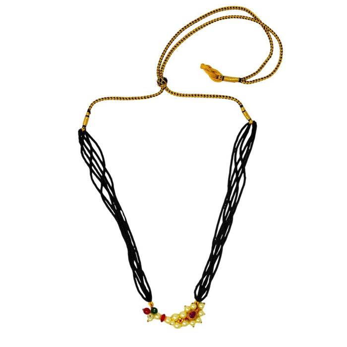 Moti & Red Stone Nathini Pendant Necklace Top View