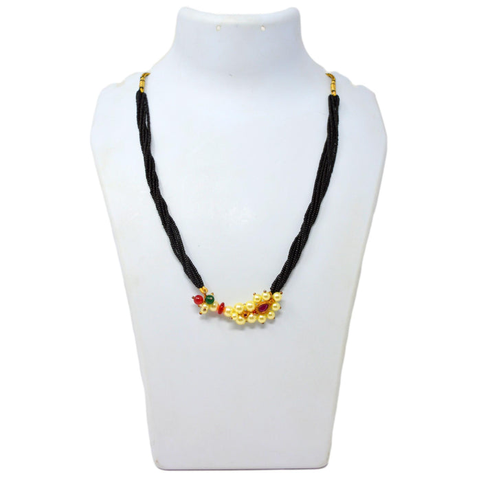 Moti & Red Stone Nathini Pendant Necklace On Mannequin