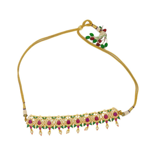 Red, Green & Moti Necklace Set Front View