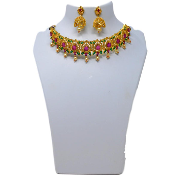 Red, Green & Moti Necklace Set On Mannequin