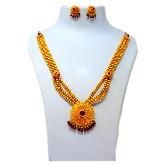 Red Mani, Kundan & Moti Necklace Set