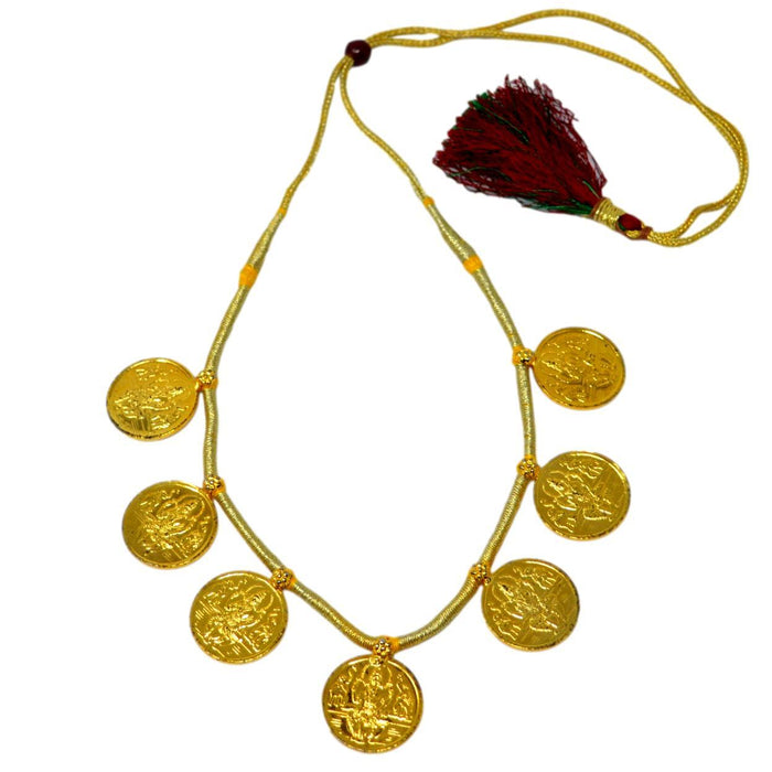 Gold Finish Laxmi Coin Necklace Top View