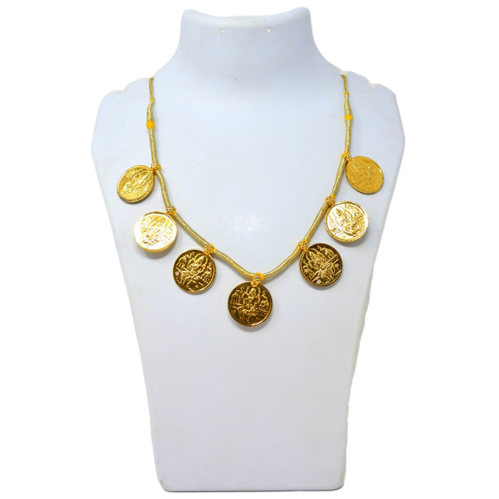 Gold Finish Laxmi Coin Necklace On Mannequin