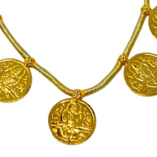 Gold Finish Laxmi Coin Necklace Close Up