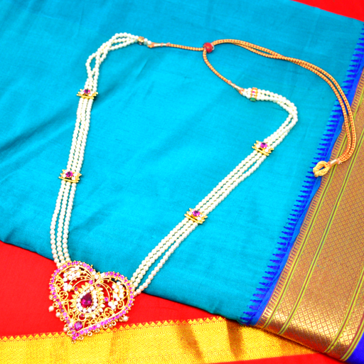 Red & American Diamond Moti Tanamani Necklace Set Color