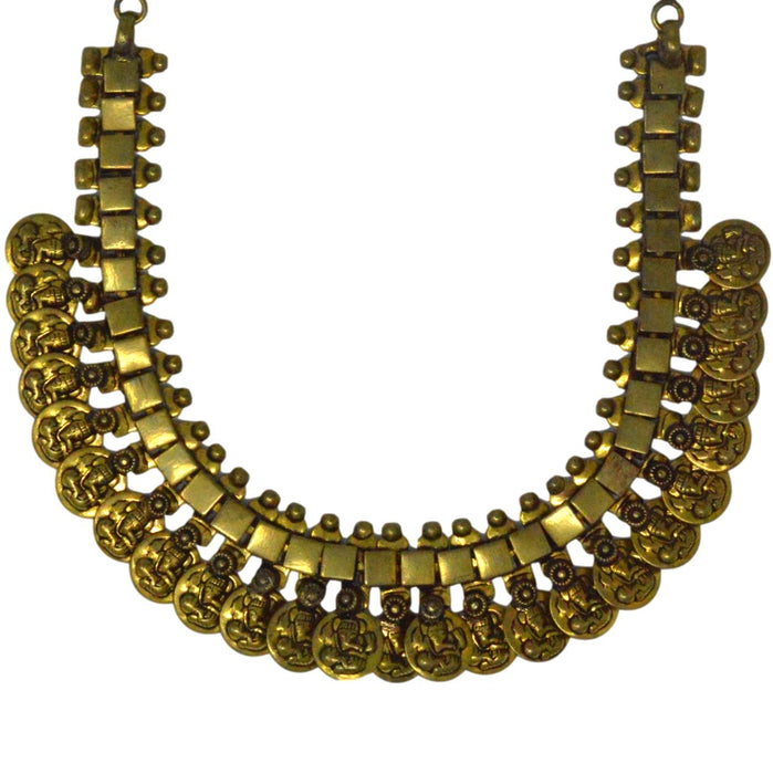Coin Golden Oxidised Necklace