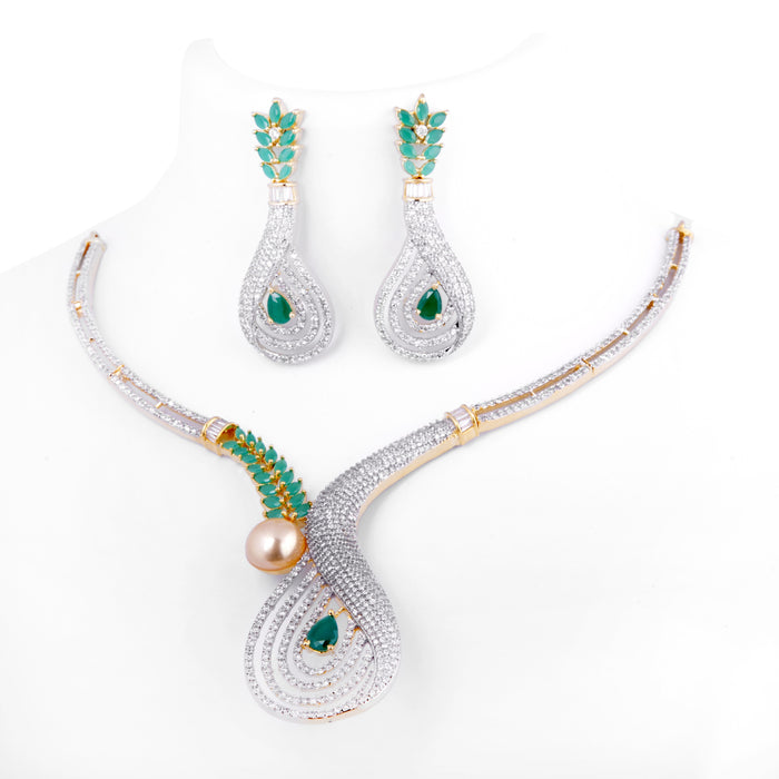 White & Green Stone Necklace Set Front View On Mannequin