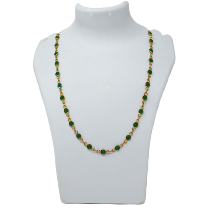 Green Stone  Chain Necklace