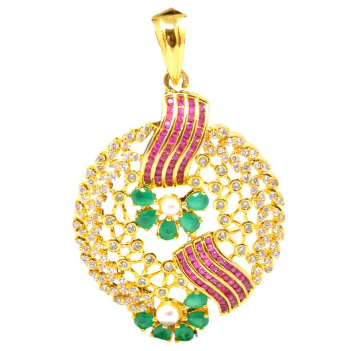 Red Green & American Diamond Pendant Set Pendant