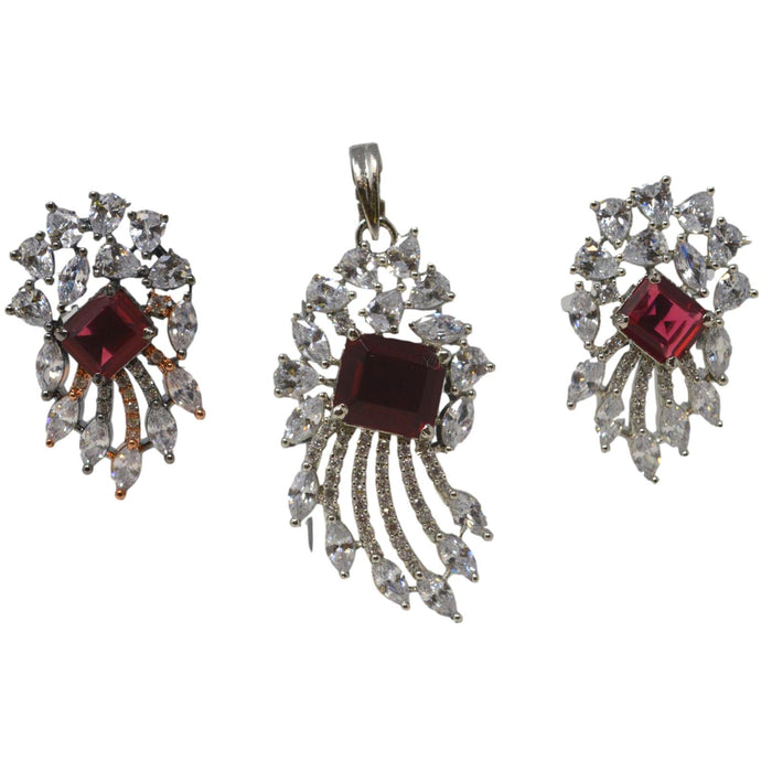 American Diamond & Red White Stone Pendant Set