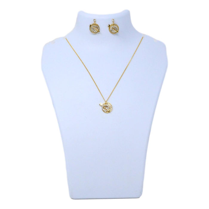 Golden American Diamond  Hart Shape Chain  Pendant Set Back View