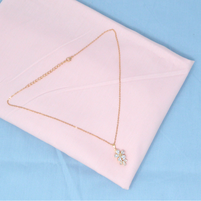 Golden American Diamond Chain Pendant Set  Color