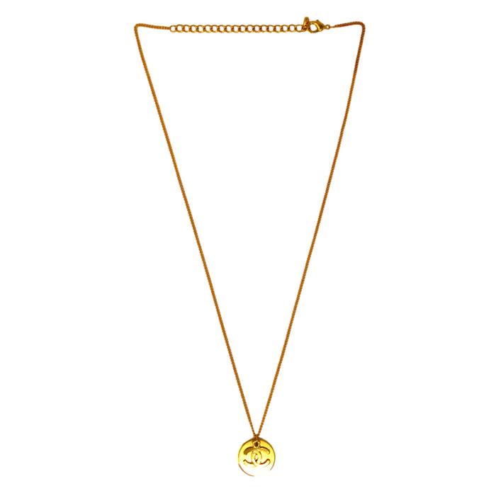 Golden American Diamond Chain Pendant Set Back View