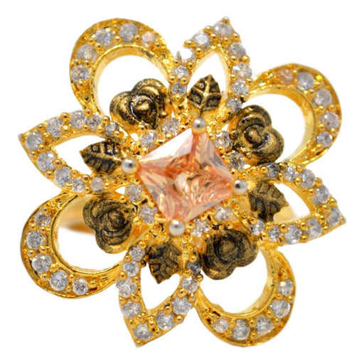 American Diamond & Yellow Stone Ring Front View