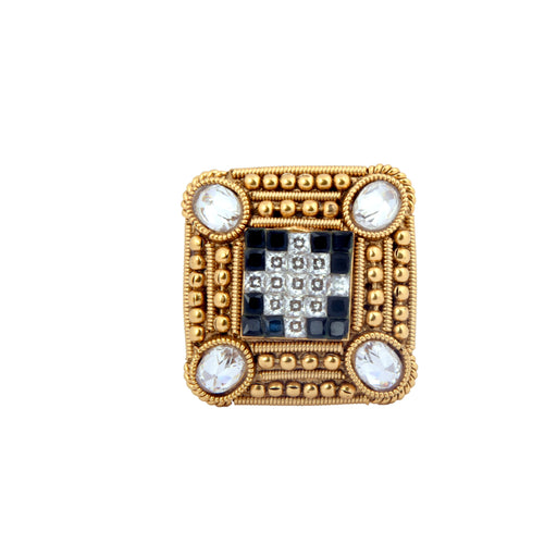 White & Black Stone Ring Front View