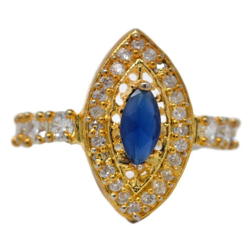 American Dimond & Blue Stone Ring Front View