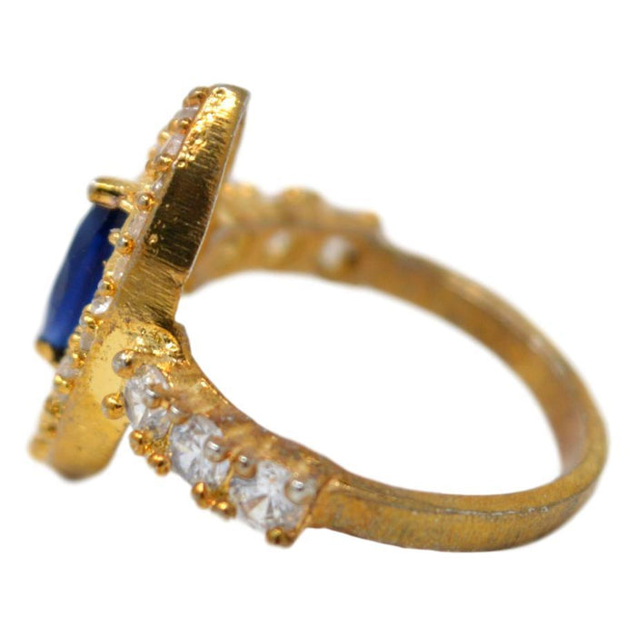 American Dimond & Blue Stone Ring Side View