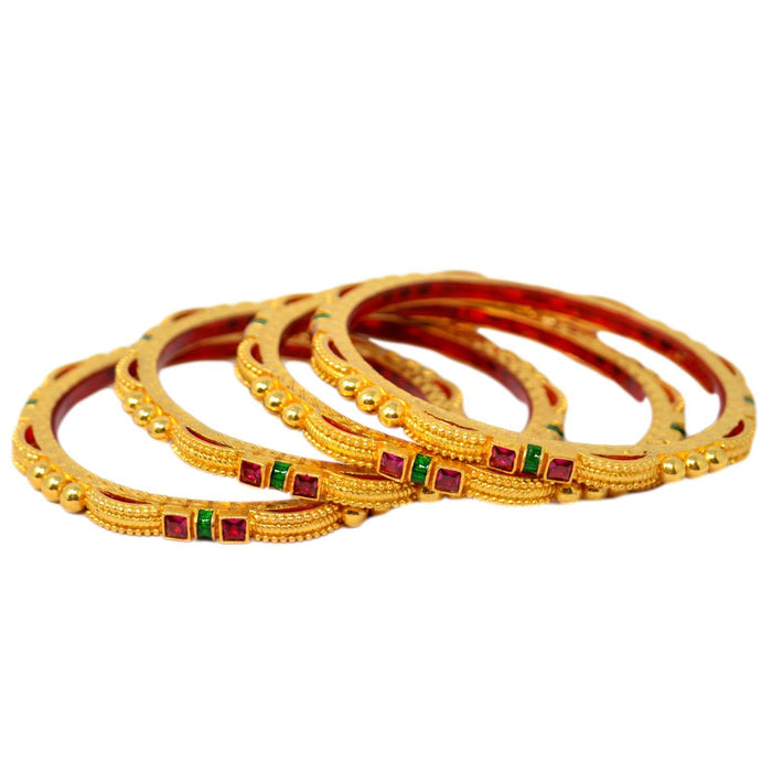 Red Stone Bangles Set Front View