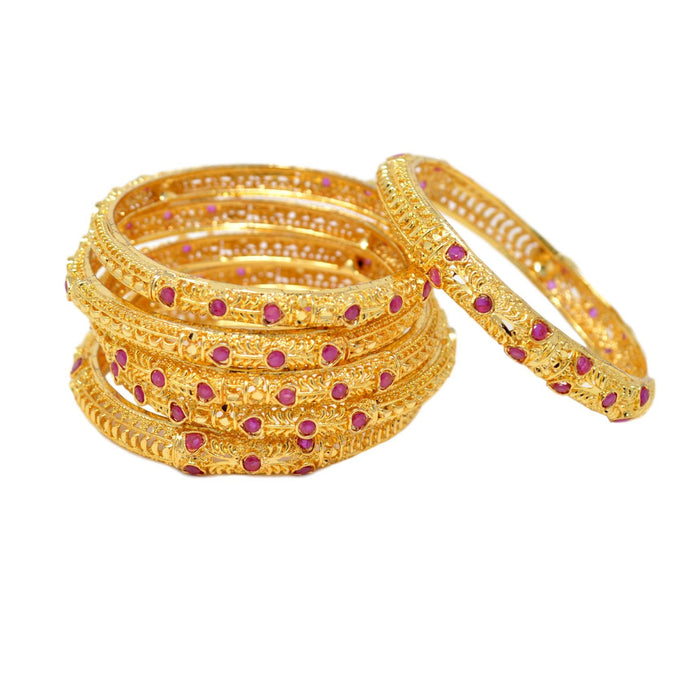 Golden Red Stone Bangle semi Stacked