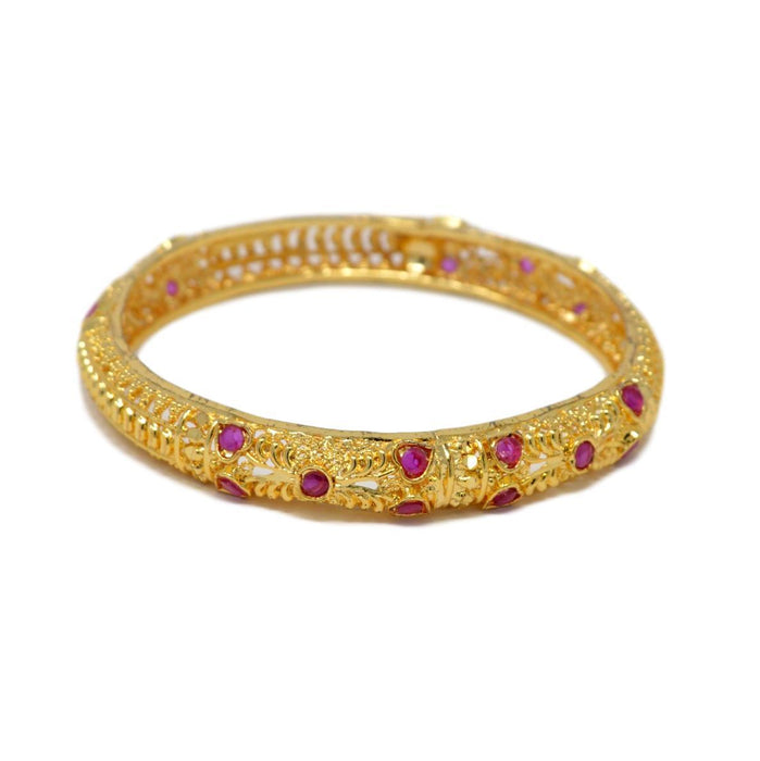 Golden Red Stone Bangle Set single