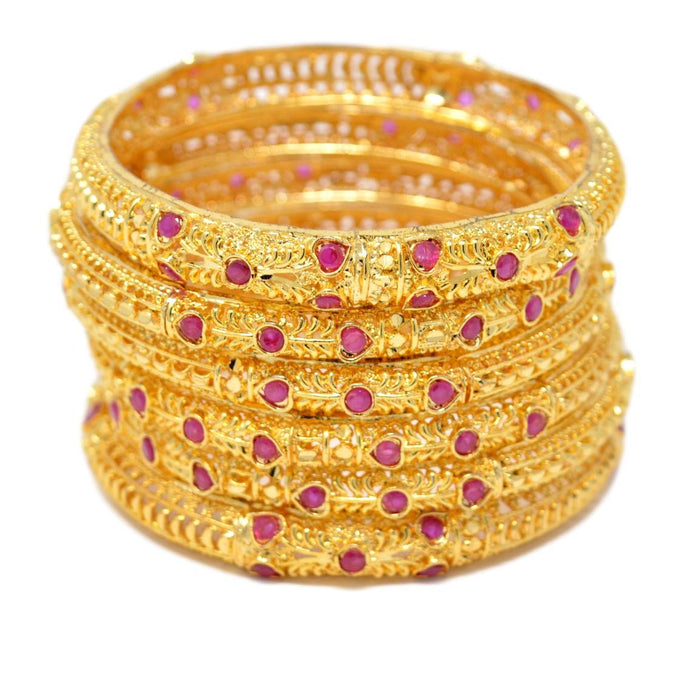 Golden Red Stone Bangle Set Stacked