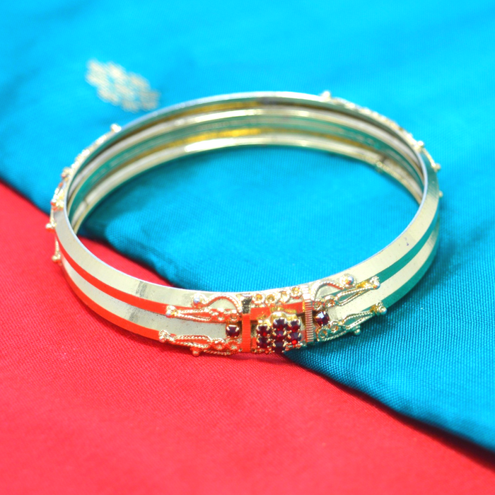 Plain Gold With Colour Stone Bangle