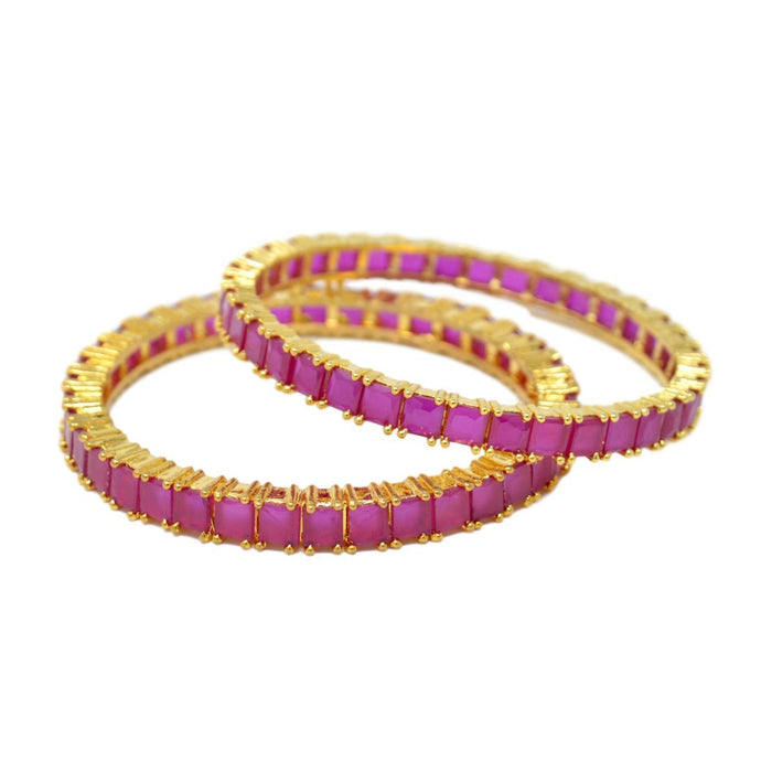 Red Stone Bangle Pair Semi Stacked