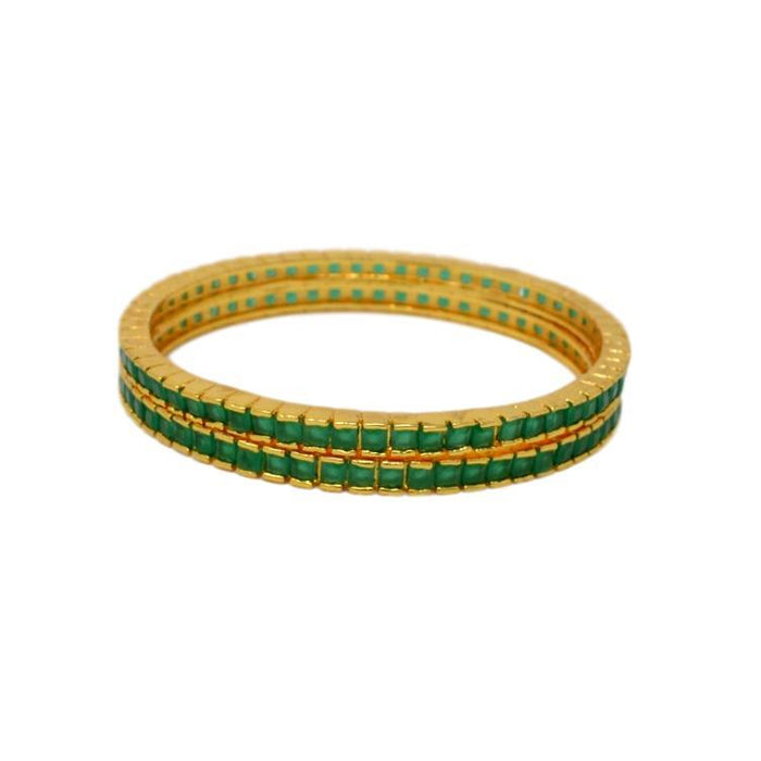 Green Stone Bangle Pair Stacked