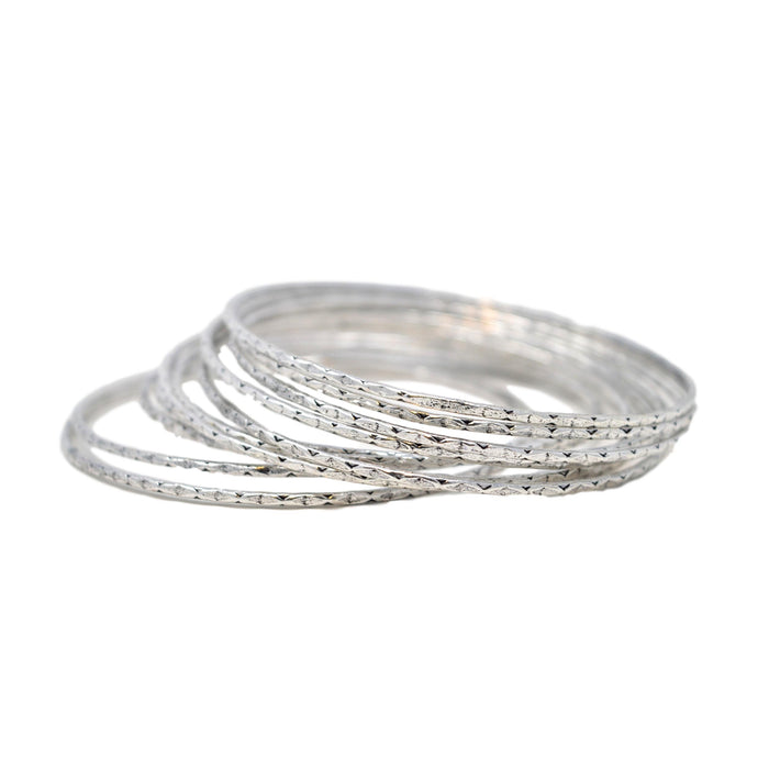 Oxidised Thin Bangle Set Semi Stacked