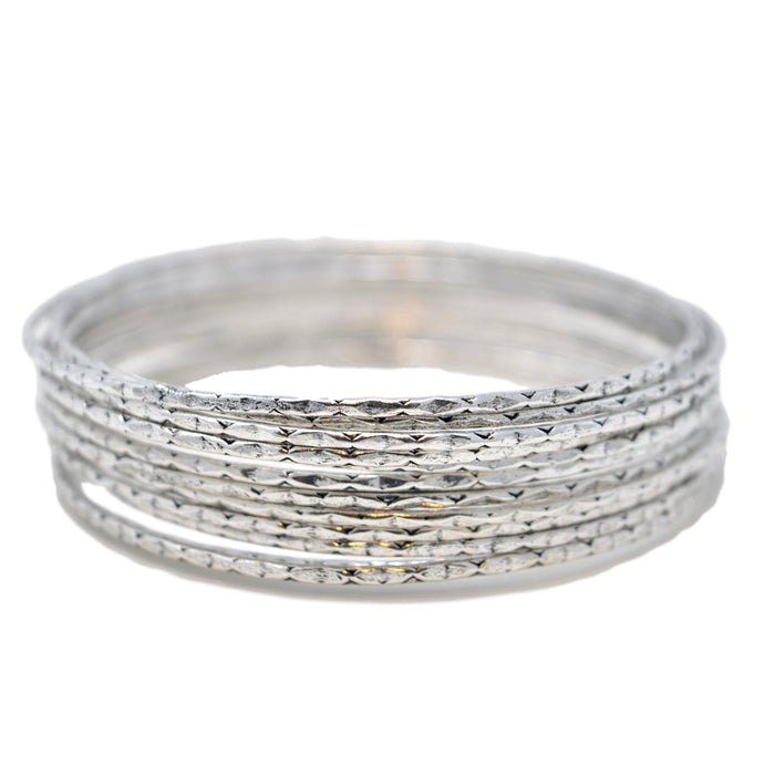 Oxidised Thin Bangle Set Stacked
