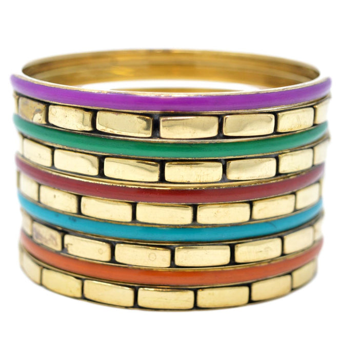 Golden Oxidised Coloured Bangles Set Stacked