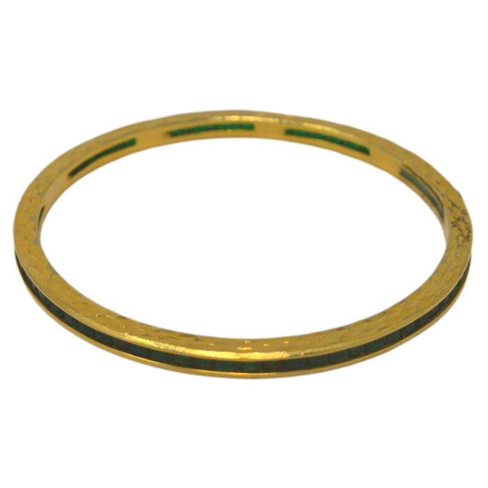 Green Imitation Stone Bangle Pair