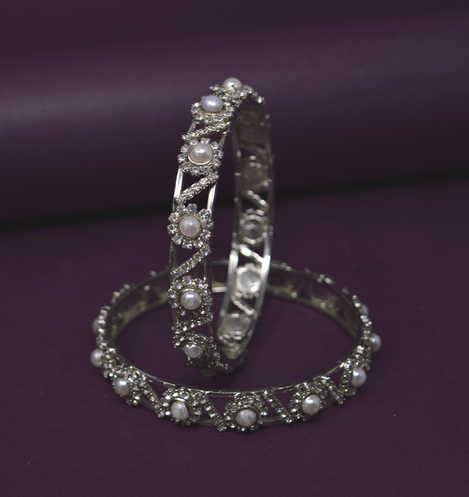 White American Diamond Stone Bangle Pair