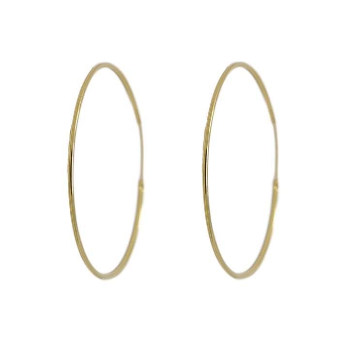 Plain Gold Hoop Earring Front View