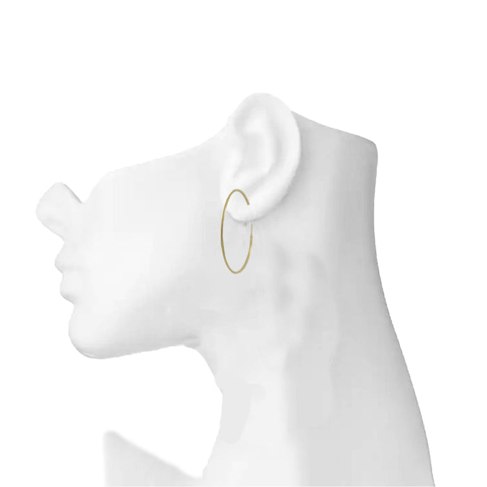 Plain Gold Hoop Earring On Ear