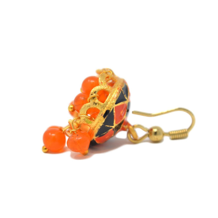 Orange & Black Jhumki Back View