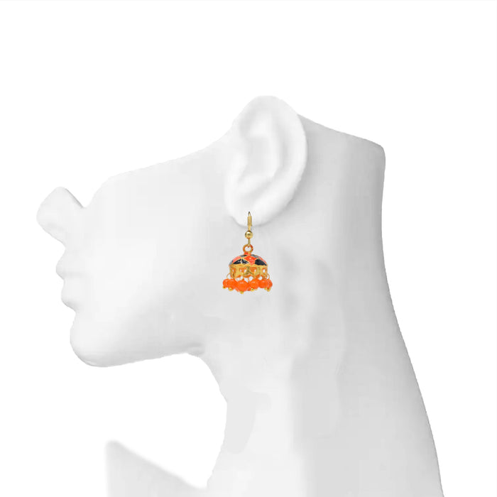 Orange & Black Jhumki On Ear