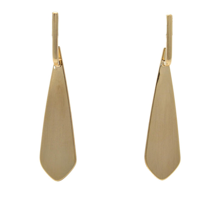Modern Plain Gold Earrings Front View