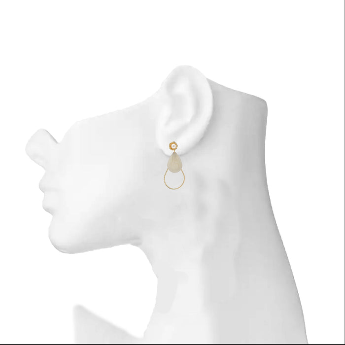 Modern Pearl and Stone Veneer Earrings On Ear