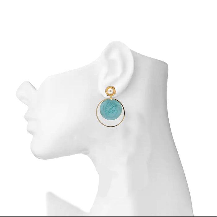 Modern Earrings with Blue Stone Veneer On Ear