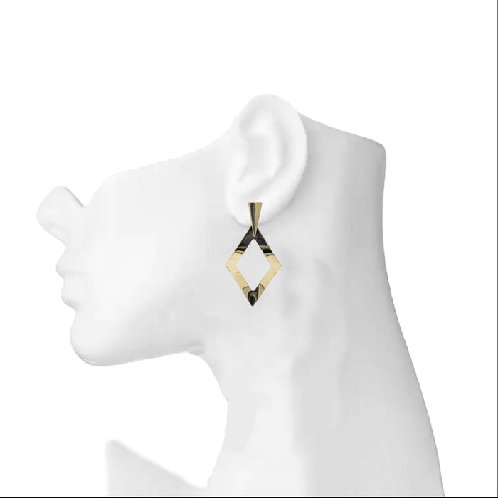 Modern Plain Gold Earrings On Ear