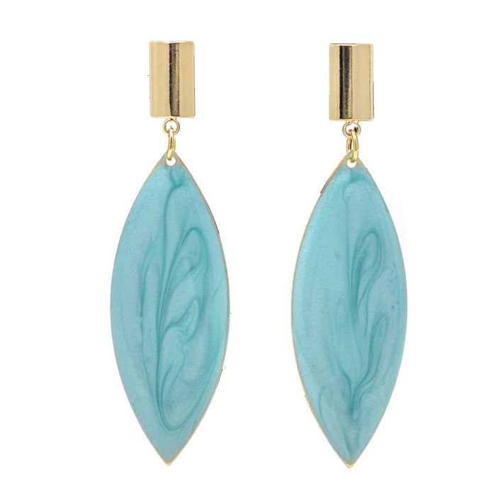 Modern Earrings with Blue Stone Veneer Front View