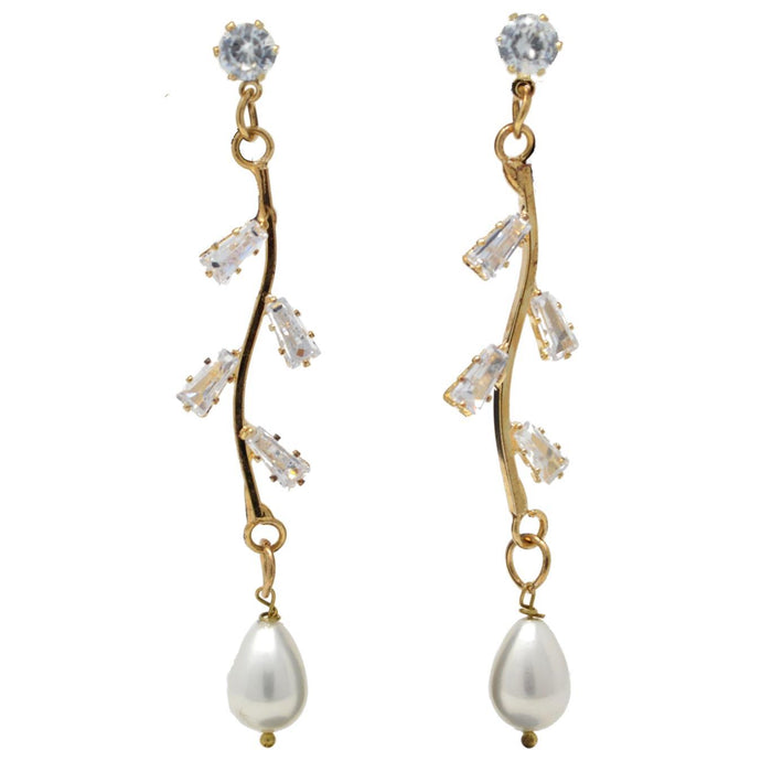 Modern American Diamond String Earrings With Pearls Front View
