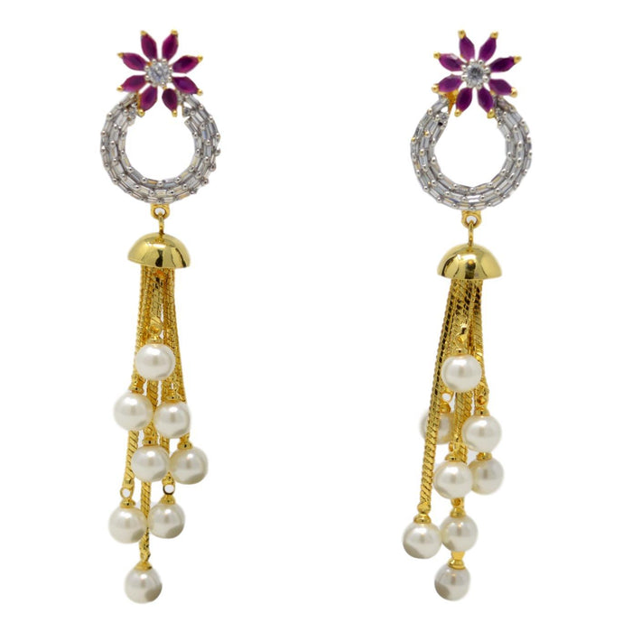American White Diamond, Red Stone & Moti Earring Front View